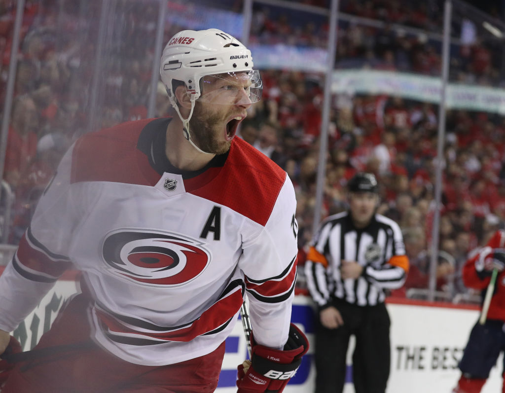 WASHINGTON, DC - APRIL 24: Jordan Staal #11 of the Carolina Hurricanes celebrates his goal at 2:56 of the third period against the Washington Capitals in Game Seven of the Eastern Conference First Round during the 2019 NHL Stanley Cup Playoffs at the Capital One Arena on April 24, 2019 in Washington, DC. (Photo by Patrick Smith/Getty Images)