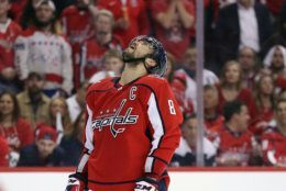 WASHINGTON, DC - APRIL 24: Alex Ovechkin #8 of the Washington Capitals looks upward following a first overtime save by Petr Mrazek #34 of the Carolina Hurricanes in Game Seven of the Eastern Conference First Round during the 2019 NHL Stanley Cup Playoffs at the Capital One Arena on April 24, 2019 in Washington, DC. (Photo by Patrick Smith/Getty Images)