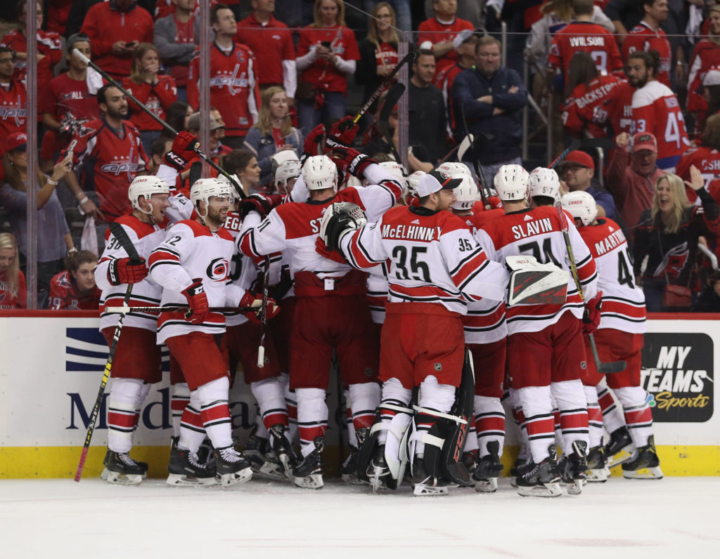 WASHINGTON, DC - APRIL 24: The Carolina Hurricanes celebrate victory over the Washington Capitals in Game Seven of the Eastern Conference First Round during the 2019 NHL Stanley Cup Playoffs at the Capital One Arena on April 24, 2019 in Washington, DC. The Hurricanes defeated the Capitals 4-3 in the second overtime period to move on to Round Two of the Stanley Cup playoffs. (Photo by Patrick Smith/Getty Images)
