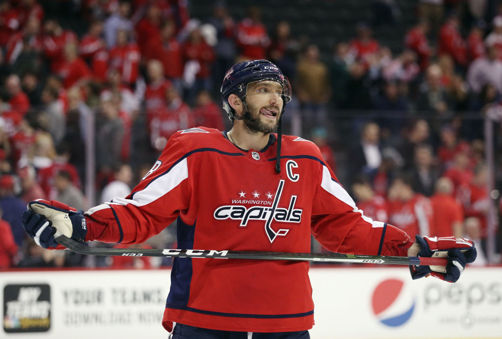 WASHINGTON, DC - APRIL 24: Alex Ovechkin #8 of the Washington Capitals leaves the ice following a defeat by the Carolina Hurricanes in Game Seven of the Eastern Conference First Round during the 2019 NHL Stanley Cup Playoffs at the Capital One Arena on April 24, 2019 in Washington, DC. The Hurricanes defeated the Capitals 4-3 in the second overtime period to move on to Round Two of the Stanley Cup playoffs. (Photo by Patrick Smith/Getty Images)
