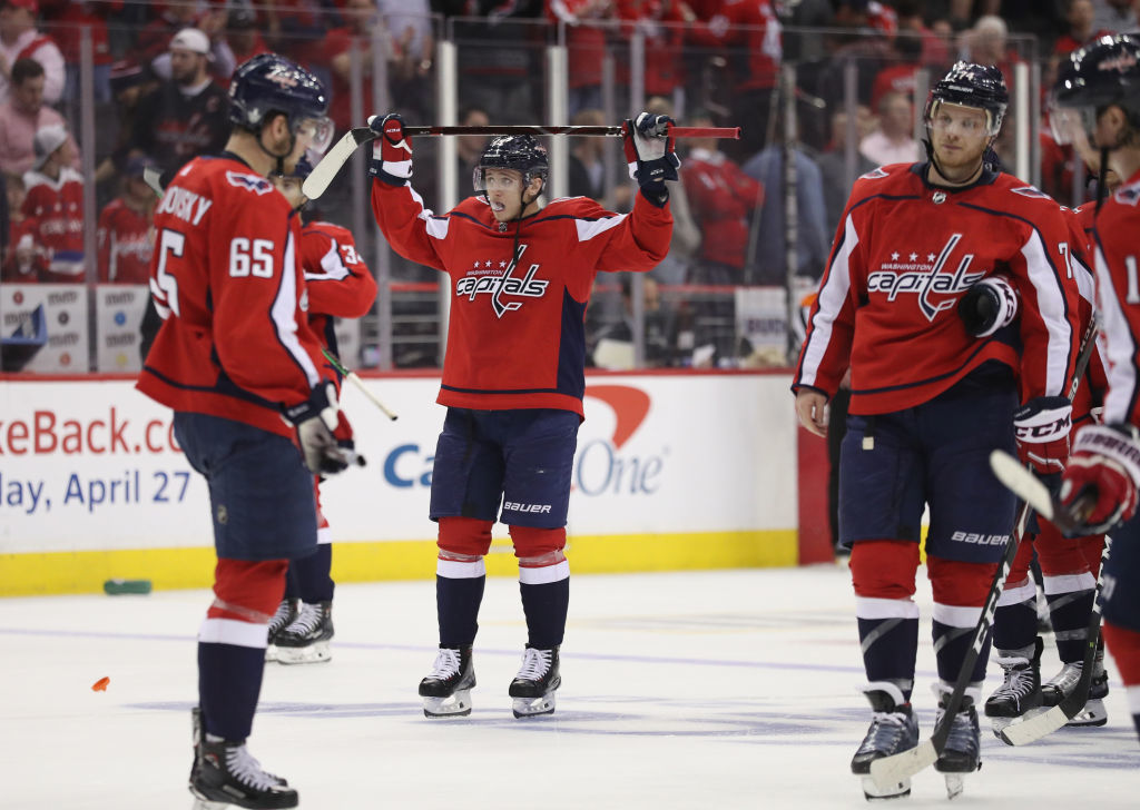 WASHINGTON, DC - APRIL 24: The Washington Capitals leave the ice following defeat by the Carolina Hurricanes in Game Seven of the Eastern Conference First Round during the 2019 NHL Stanley Cup Playoffs at the Capital One Arena on April 24, 2019 in Washington, DC. The Hurricanes defeated the Capitals 4-3 in the second overtime period to move on to Round Two of the Stanley Cup playoffs. (Photo by Patrick Smith/Getty Images)