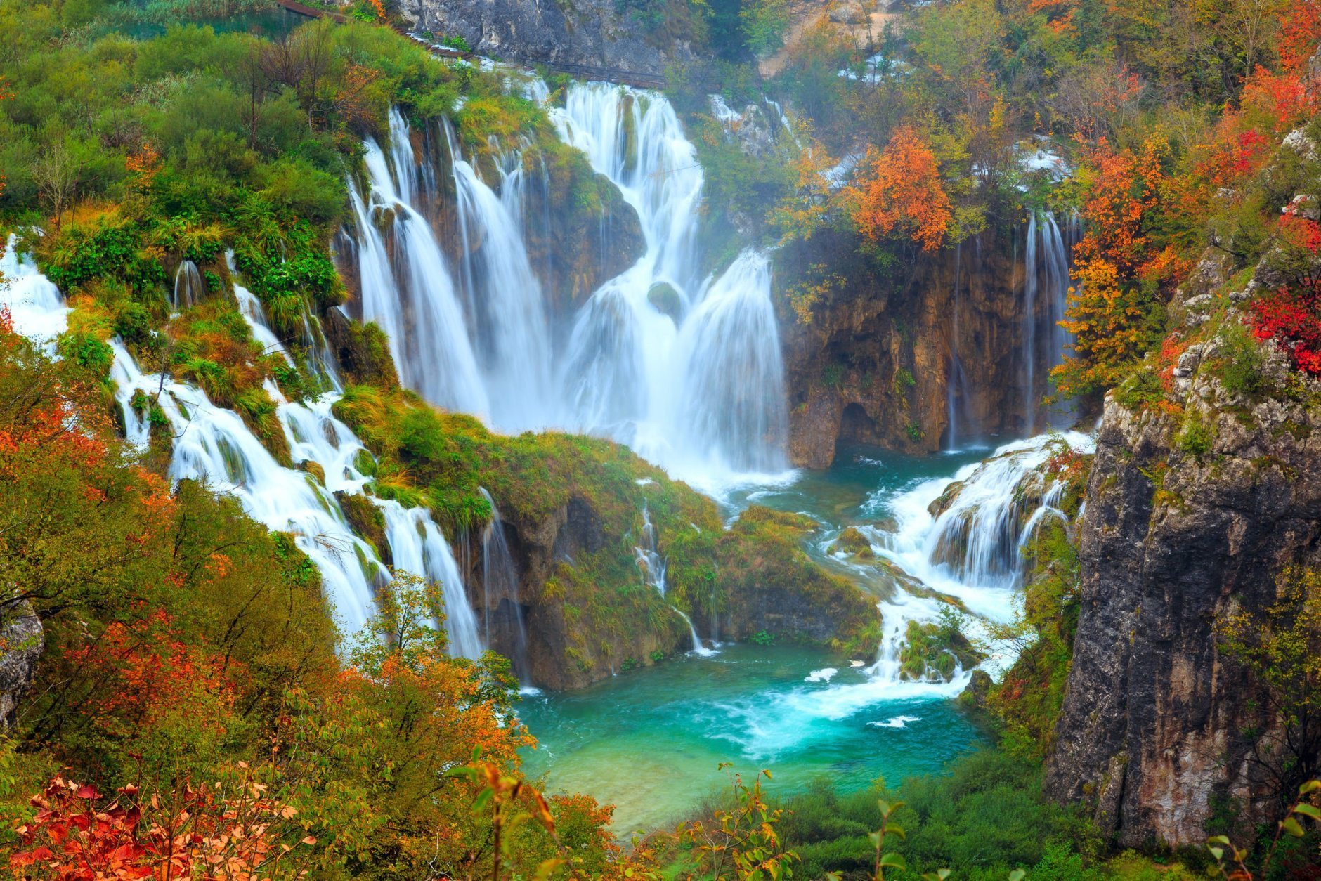 The waterfalls of Plitvice National Park in Croatia