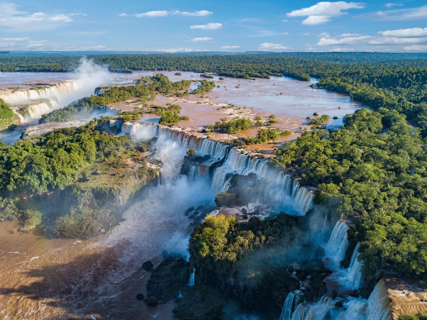 Aerial view of the Iguazu Falls. View over the Garganta del Diablo the Devil's Throat.