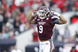 JACKSONVILLE, FL - DECEMBER 30: Montez Sweat #9 of the Mississippi State Bulldogs reacts after a tackle for loss against the Louisville Cardinals during the TaxSlayer Bowl at EverBank Field on December 30, 2017 in Jacksonville, Florida. The Bulldogs won 31-27. (Photo by Joe Robbins/Getty Images)
