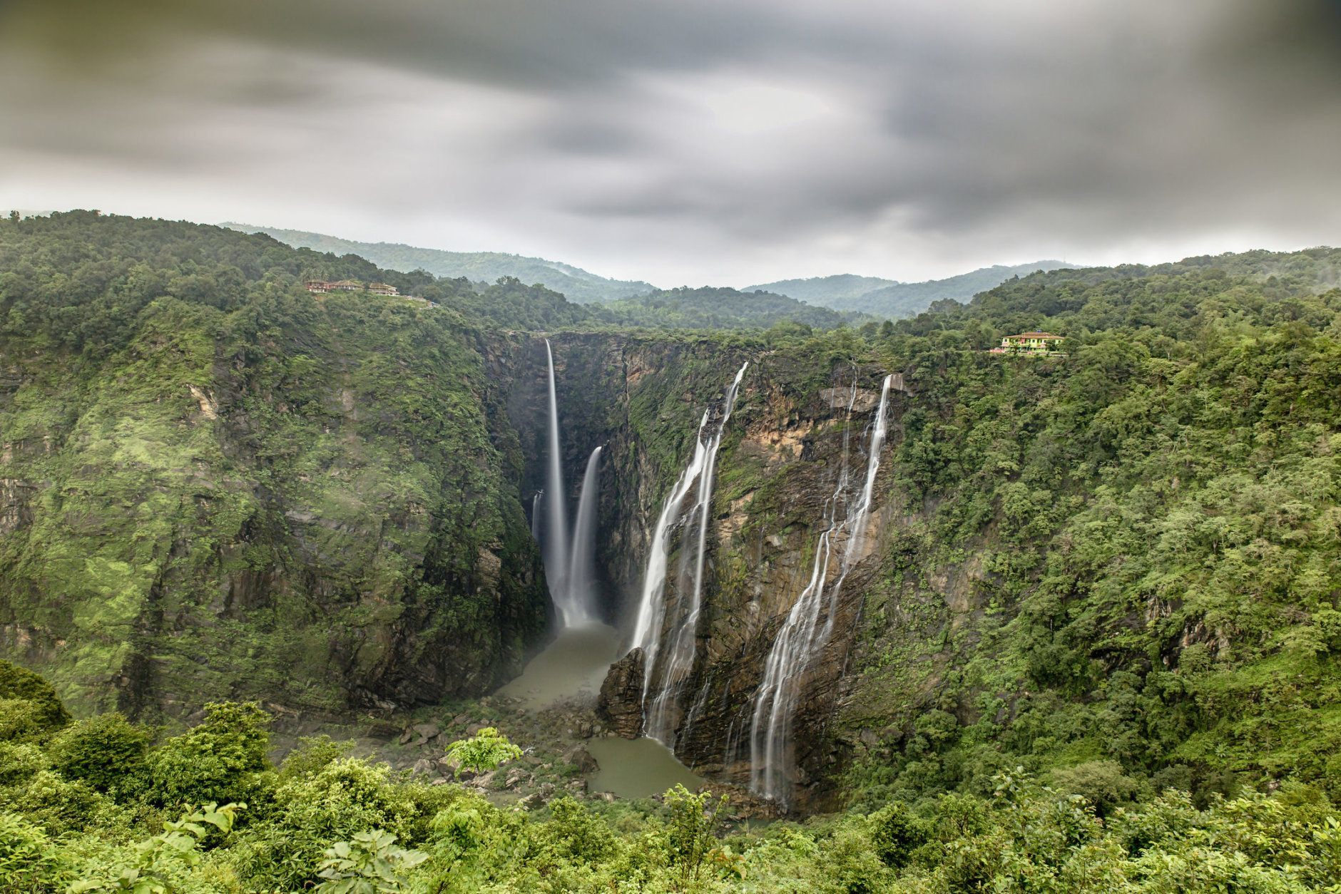 A view of the world famous Jog Falls in Karnataka, India during the monsoon season
