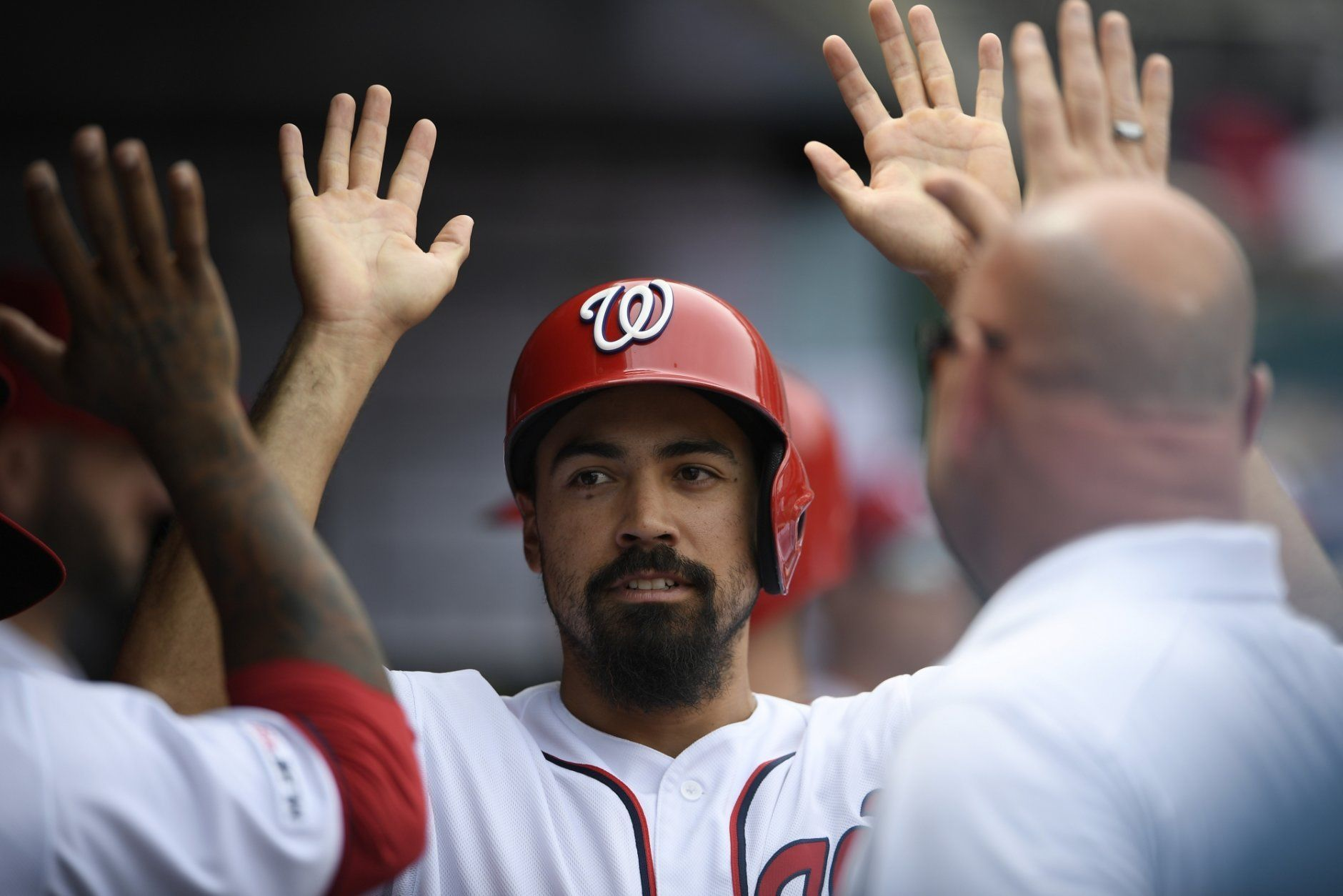 Washington Nationals' Anthony Rendon celebrates in the dugout after he scored on a double by Juan Soto during the third inning of a baseball game against the San Francisco Giants, Thursday, April 18, 2019, in Washington. (AP Photo/Nick Wass)