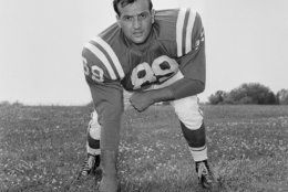 Gino Marchetti died April 29, 2019 at age 93. He played 13 seasons with the Baltimore Colts.  Marchetti  is shown at the team's summer training camp at Western Maryland College, July 18, 1960. (AP Photo)