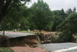 On May 27, 2018 a portion of Ellicott Mills Drive was washed away, when an aluminum culvert carrying the surging Tiber Creek failed during flooding.