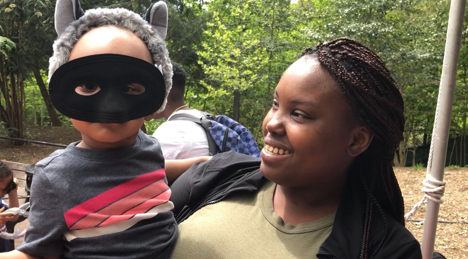 Mechelle Prophet of Forestville, Maryland came to the zoo with her extended family and godchildren. (WTOP/Kristi King)