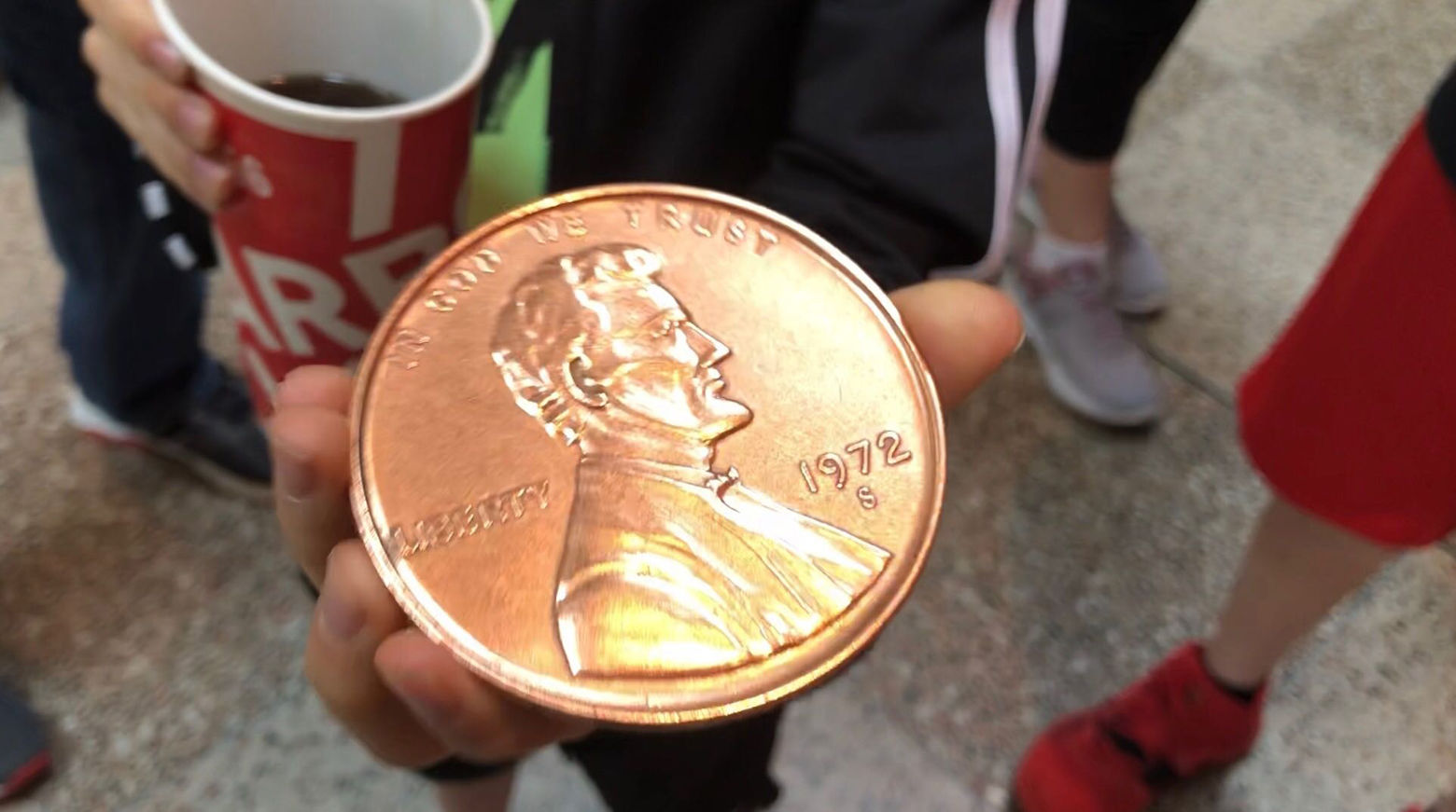 """One child in the elephant house joked that he would use this penny to buy an elephant he would name """"Tiny."""" (WTOP/Kristi King)"""