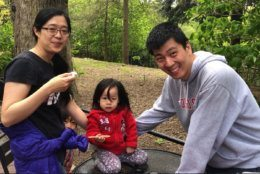 The Zhang family, from Ames, Iowa, visited the National Zoo on Monday. (WTOP/Kristi King)