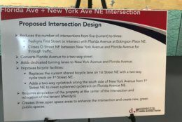 A DDOT poster explains the proposed changes to Dave Thomas Circle. (WTOP/Dick Uliano)