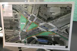 A DDOT project map shows one of the concepts for the reconstruction of Dave Thomas Circle. (WTOP/Dick Uliano)