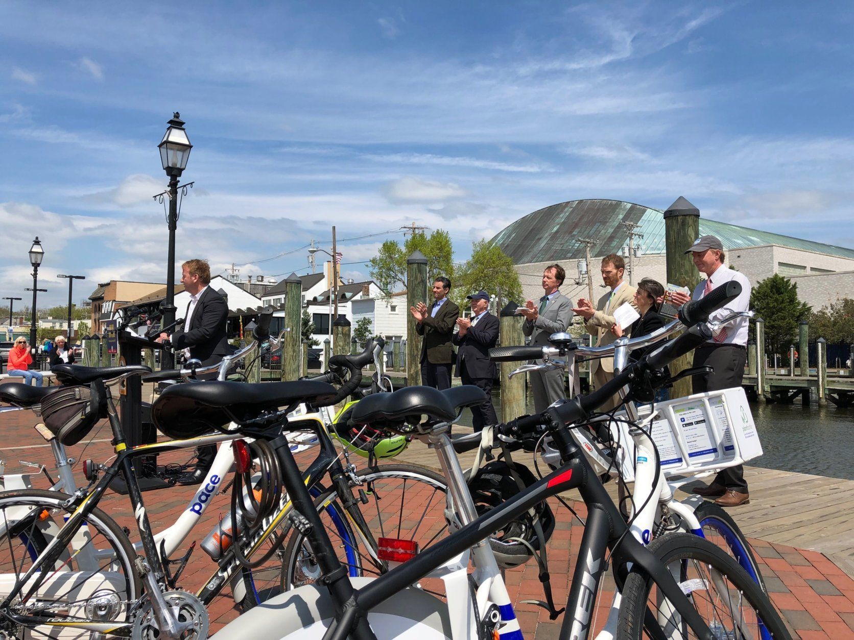 Some of the participants at the Earth Day event in Annapolis took Bikes down to the waterfront for the afternoon. (WTOP/Kate Ryan)