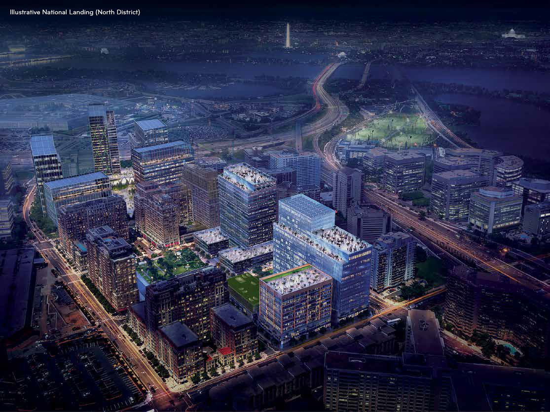 Amazon HQ2 at the new National Landing area is shown here in a rendering. (Courtesy JBG Smith)