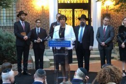 D.C. Mayor Muriel Bowser speaks at American Friends of Lubavitch vigil. (WTOP/Mike Murillo)