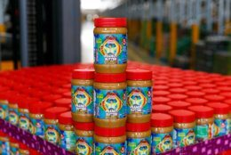"""A closeup of the Lidl peanut butter jars with Eric """"Bean"""" McKay's face on the label. (Courtesy Lidl)"""