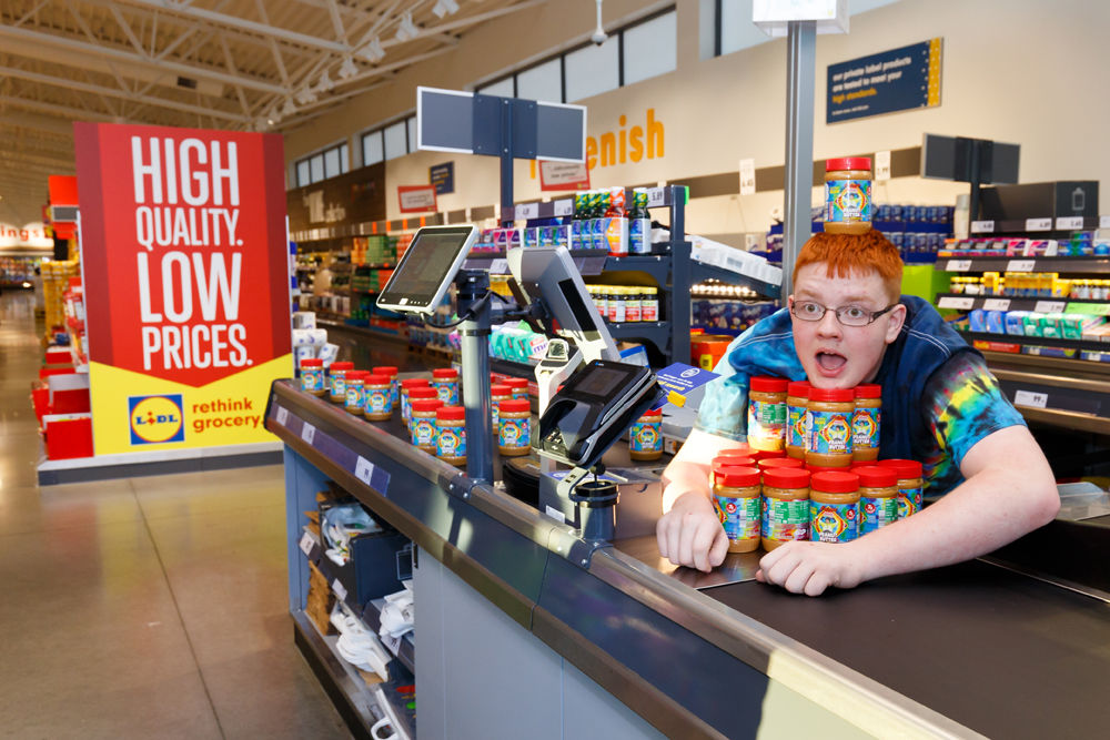 """Eric """"Bean"""" McKay, a 15-year-old Woodbridge, Virginia boy who won a lifetime supply of peanut butter from Lidl grocery store, will get his picture on the label of Lidl-branded peanut butter, with some of the sales going to a nonprofit autism advocacy group. (Courtesy Lidl)"""