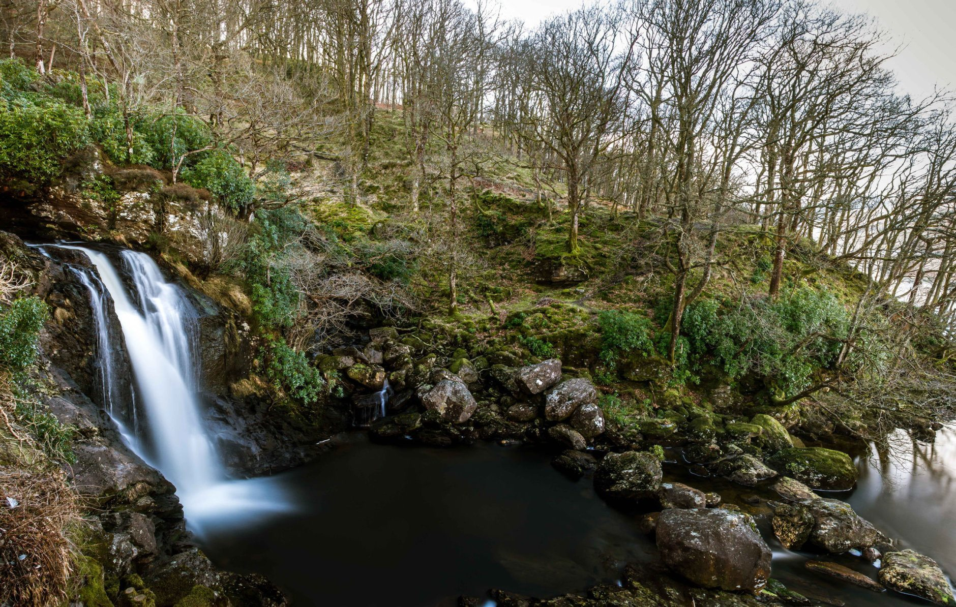 Waterfall in the hamlet of Inversnaid, Scotland. Seen here at the base of the fall as it tumbles into Loch Lomond.