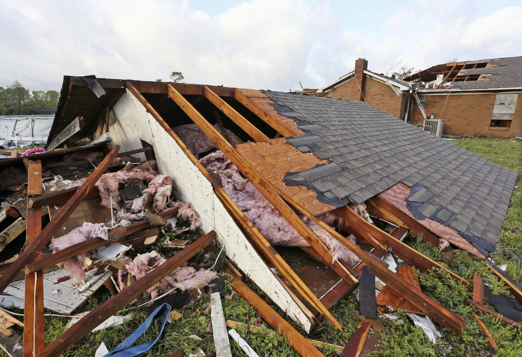 A roof a home that was blown off a home rests on the ground in Hamilton, Miss., after a deadly storm moved through the area Sunday, April 14, 2019. (AP Photo/Jim Lytle)