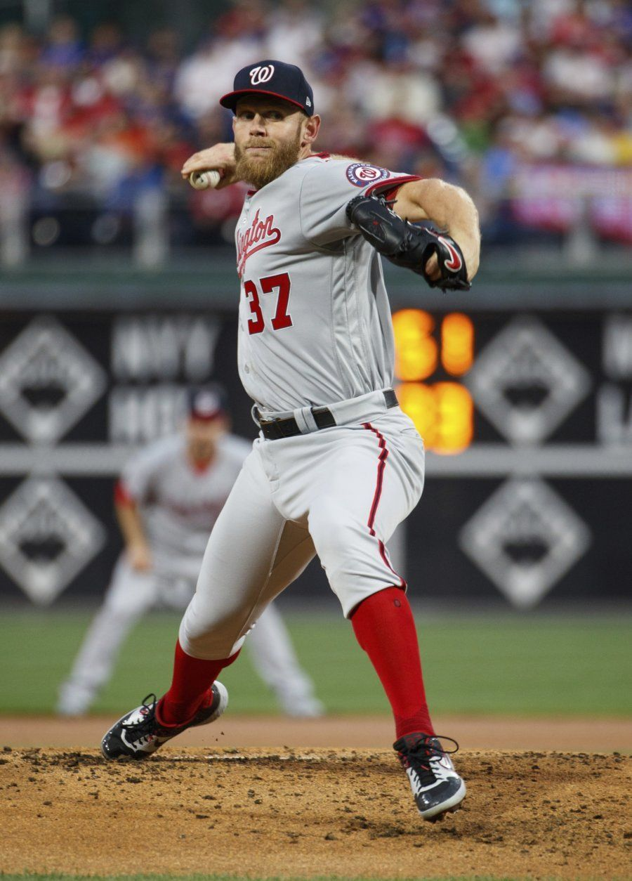 Washington Nationals starting pitcher Stephen Strasburg throws during the first inning of the team's baseball game against the Philadelphia Phillies, Tuesday, April 9, 2019, in Philadelphia. (AP Photo/Chris Szagola)