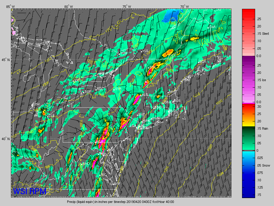 """The Weather Company's RPM computer model simulated the future radar in these images. They are """"snapshots"""" in time from early Friday afternoon through early Saturday morning, showing the scattered storms arriving first, followed by the solid line with heavy downpours moving through at night, necessitating the flash flood watch. (Courtesy The Weather Company)"""