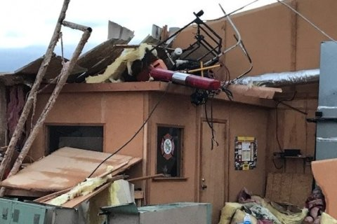 A tornado destroyed the only fire department in a Mississippi community