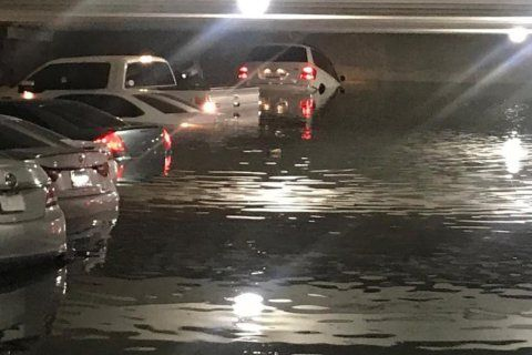 Dozens of cars submerged in Dallas airport parking garage