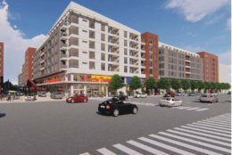A rendering of a redeveloped Harris Teeter, seen from along N. Glebe Road. (ArlNow.com)