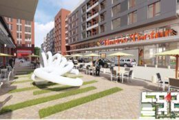A rendering of a redeveloped Harris Teeter in Ballston.