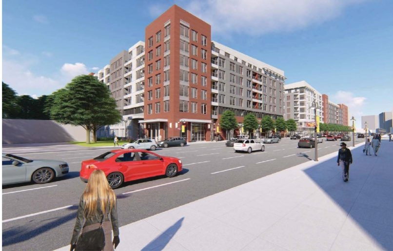 A rendering of the corner of a proposed Harris Teeter redevelopment in Ballston, seen from N. Glebe Road.