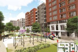A rendering of a park on the corner of a redevelopment of the Ballston Harris Teeter.