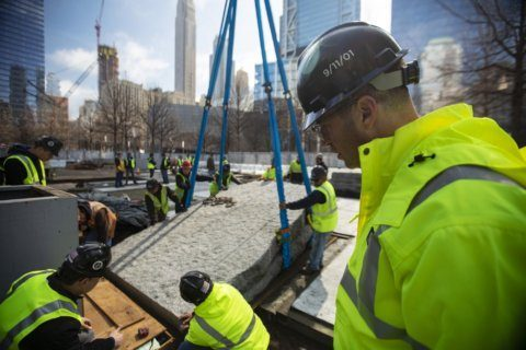 World Trade Center installs granite monoliths to honor sickened relief workers