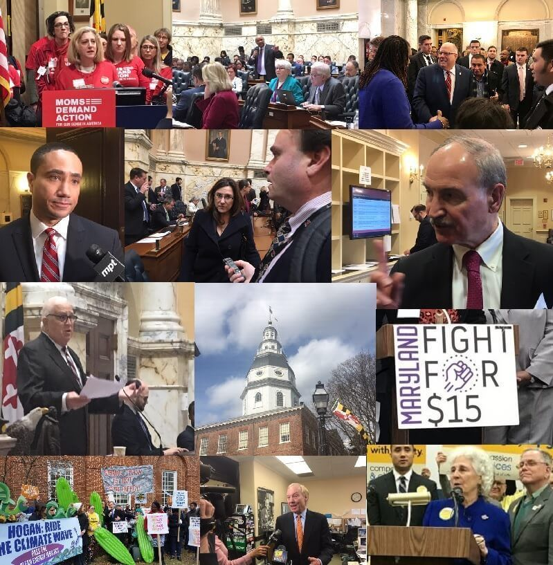 Scenes from the 2019 General Assembly session. (Courtesy Maryland Matters)