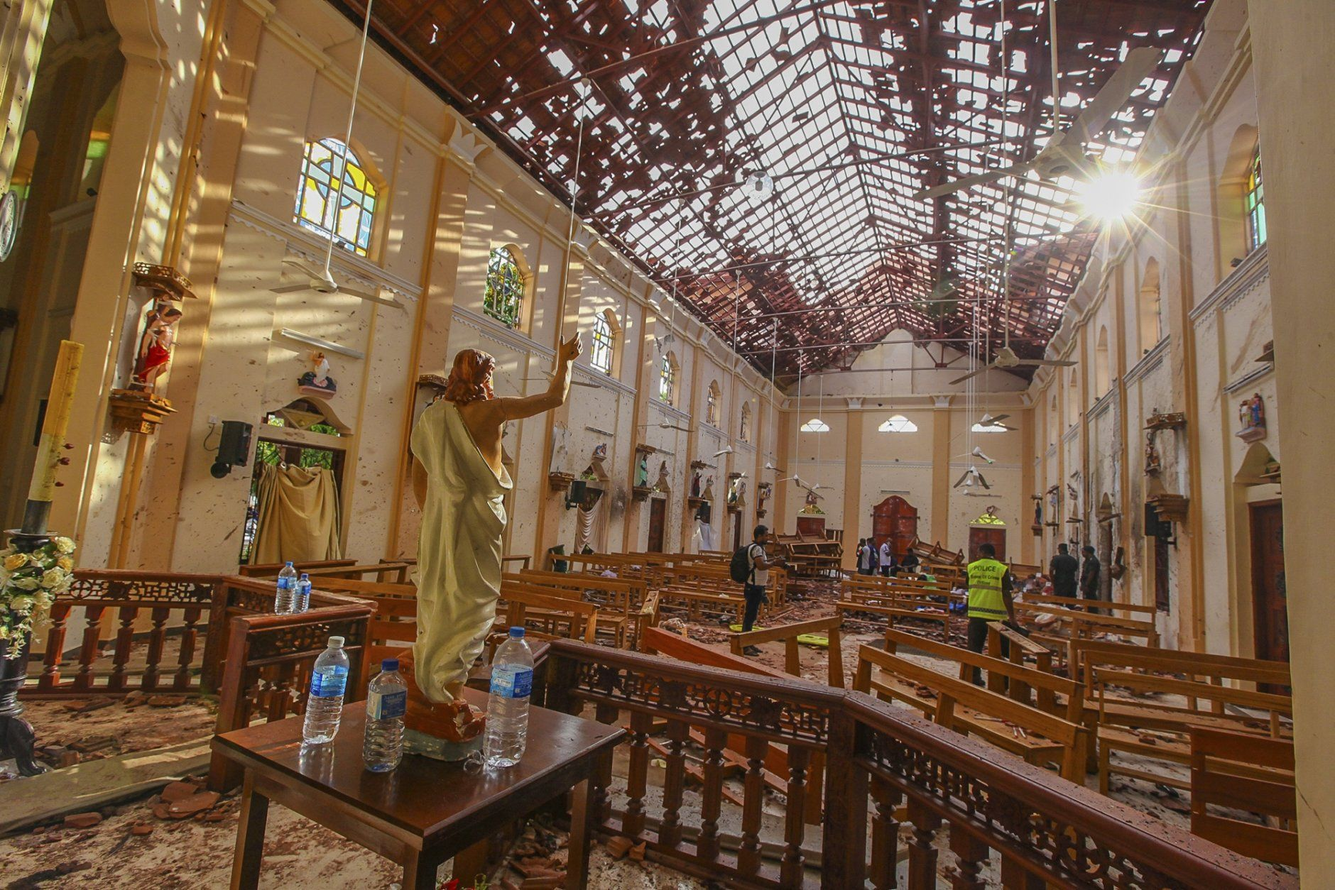 A view of St. Sebastian's Church damaged in blast in Negombo, north of Colombo, Sri Lanka, Sunday, April 21, 2019.  More than hundred were killed and hundreds more hospitalized with injuries from eight blasts that rocked churches and hotels in and just outside of Sri Lanka's capital on Easter Sunday, officials said, the worst violence to hit the South Asian country since its civil war ended a decade ago. (AP Photo/Chamila Karunarathne)