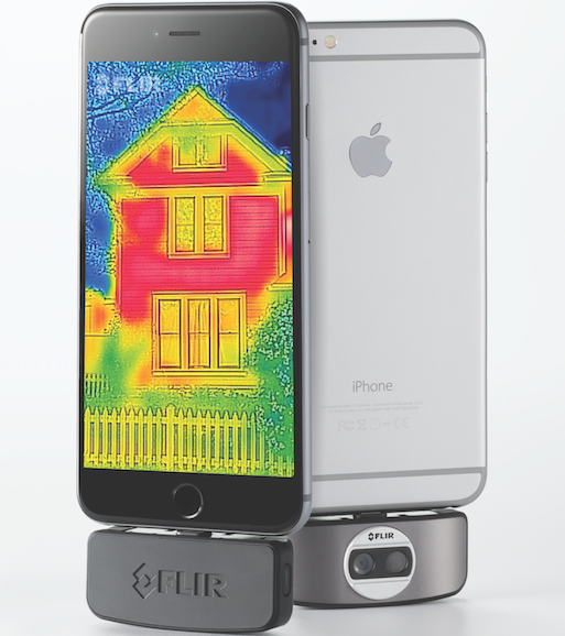 With the thermal imaging device connected to a smartphone, the user can point and click, capturing thermal images of windows, doorways and cable entry ports. (Courtesy FLIR)
