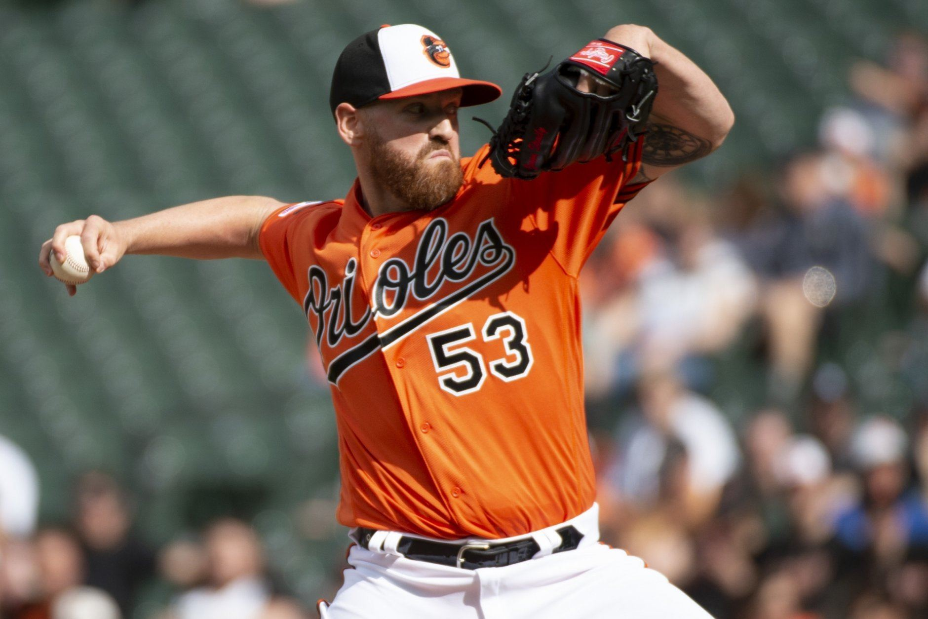 Baltimore Orioles starting pitcher Dan Straily (53) throws in the first inning of a baseball game against the Minnesota Twins, Saturday, April 20, 2019, in Baltimore. (AP Photo/Tommy Gilligan)
