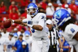 PISCATAWAY, NJ - SEPTEMBER 22: Tyree Jackson #3 of the Buffalo Bulls looks to pass against the Rutgers Scarlet Knights during the second quarter at HighPoint.com Stadium on September 22, 2018 in Piscataway, New Jersey. (Photo by Corey Perrine/Getty Images)