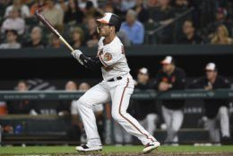 Baltimore Orioles' Stevie Wilkerson follows through on his first career home run against the Chicago White Sox in the fourth inning of a baseball game, Wednesday, April 24, 2019, in Baltimore. The Orioles won 4-3. (AP Photo/Gail Burton)