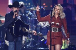 """George Strait, left, and Miranda Lambert perform """"Run"""" at the 54th annual Academy of Country Music Awards at the MGM Grand Garden Arena on Sunday, April 7, 2019, in Las Vegas. (Photo by Chris Pizzello/Invision/AP)"""
