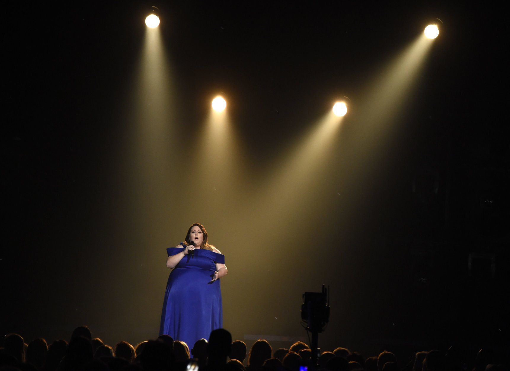 """Chrissy Metz performs """"I'm Standing with You"""" at the 54th annual Academy of Country Music Awards at the MGM Grand Garden Arena on Sunday, April 7, 2019, in Las Vegas. (Photo by Chris Pizzello/Invision/AP)"""