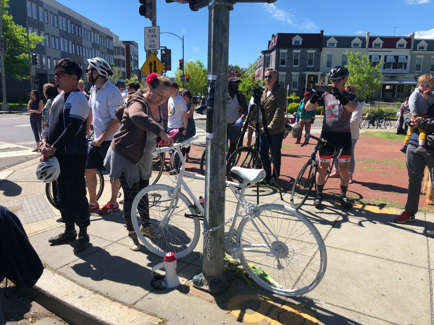 A ghost bike has become a common site at intersections in major cities across America where cyclists have been struck by cars. (WTOP/Melissa Howell)
