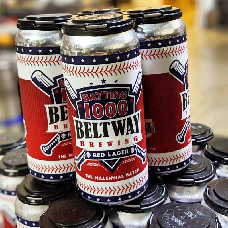 "Beltway Brewing's new beer, available April 13, is called ""Batting 1000."" It was created to be the perfect beer for a quintessential activity — watching the Washington Nationals. (Courtesy Beltway Brewing)"