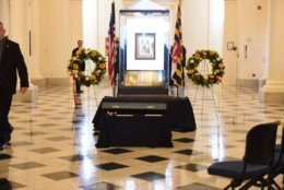The rotunda awaiting the arrival of the late Speaker Michael Busch's casket. (WTOP/Kate Ryan)