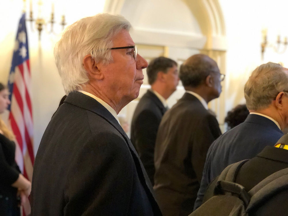 Former Gov. Parris Glendening  attends the State House ceremony where the late House Speaker Michael Busch lies in state. (WTOP/Kate Ryan)