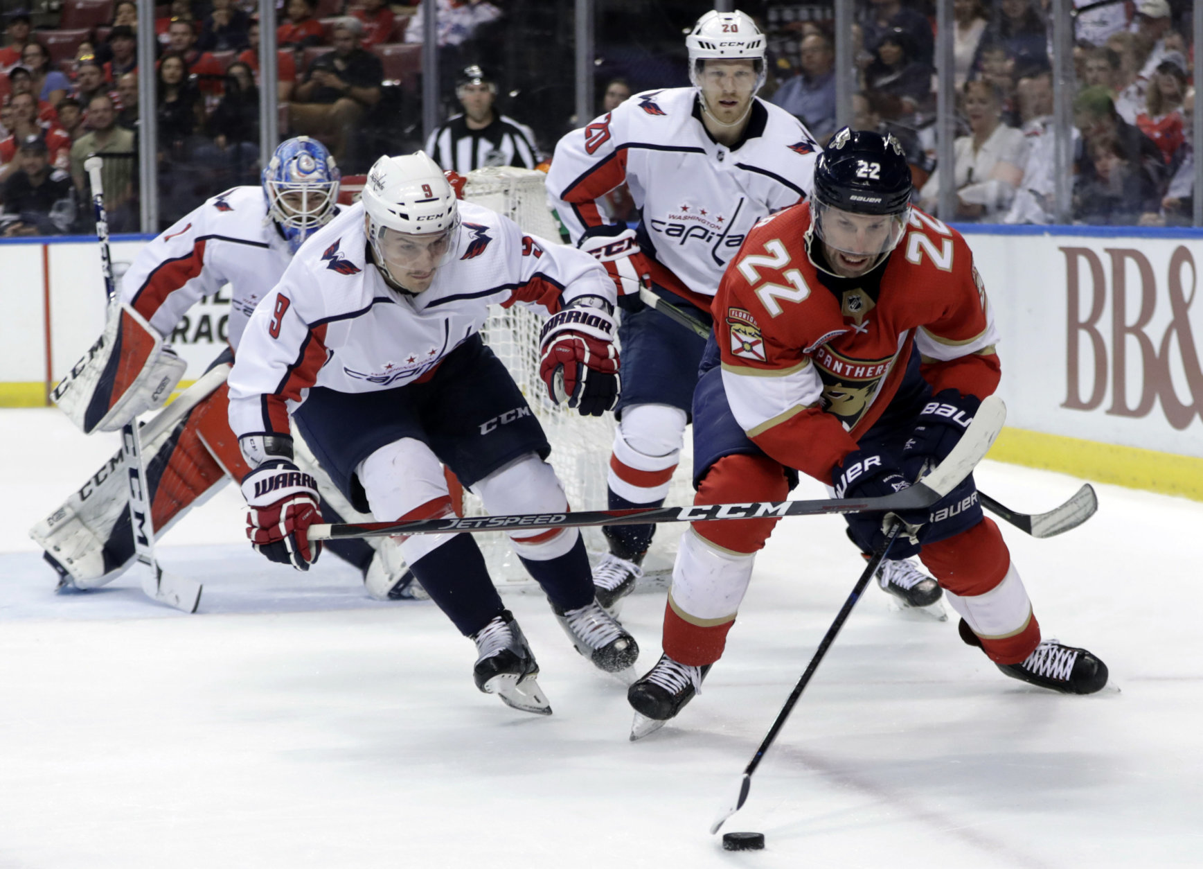 Florida Panthers right wing Troy Brouwer (22) skates with the puck as Washington Capitals defenseman Dmitry Orlov (9) defends during the second period of an NHL hockey game, Monday, April 1, 2019, in Sunrise, Fla. (AP Photo/Lynne Sladky)
