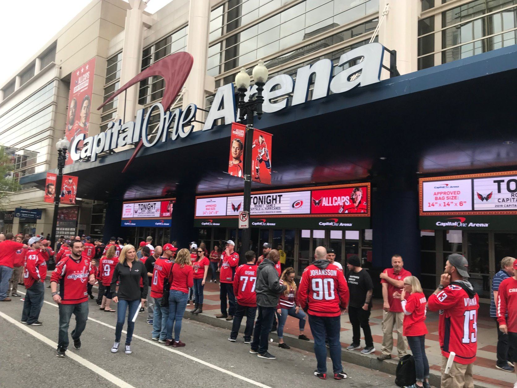 Fans in downtown D.C. celebrate a Caps win against the Carolina Hurricanes. (WTOP/Dick Uliano)