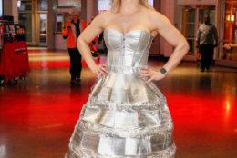 Kora Findler wears her Stanley Cup dress to a Washington Capitals game. (Courtesy Kora Findler)