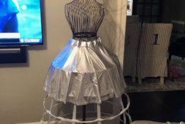 Kora Findler documents the intricate details of her Stanley Cup dress. (Courtesy Kora Findler)