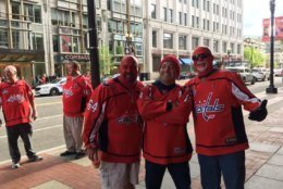 Fans gather outside Capital One Arena before Game 5 between the Washington Capitals and the Carolina Hurricanes on Saturday, April 20, 2019. (WTOP/Liz Anderson)